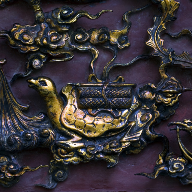 """Detail of engraved brass art work. Thailand, January 18, 2007."" stock image"