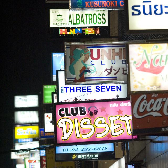 """Neon street signs, Bangkok. Thailand, January 17, 2007."" stock image"