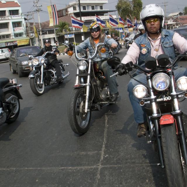"""Harley Davidson convoy. Thailand. January 21, 2007."" stock image"