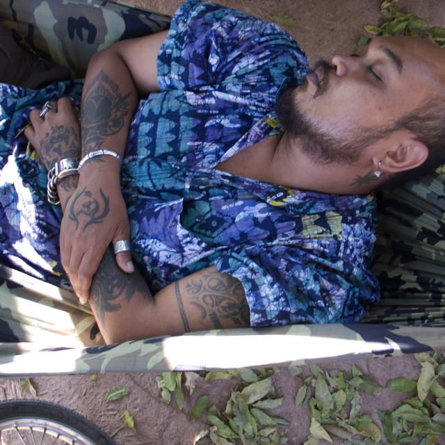 """Tattoo sleep. Thailand. January 20, 2007."" stock image"