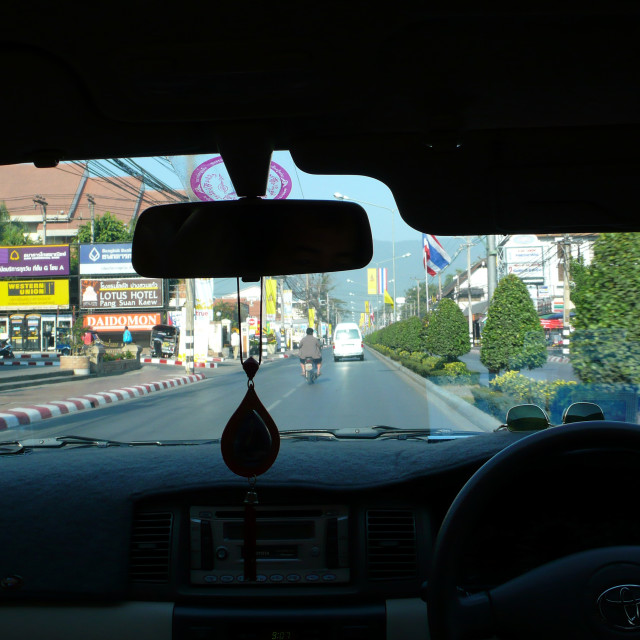 """Taxi windscreen view. Thailand. January 19, 2007."" stock image"
