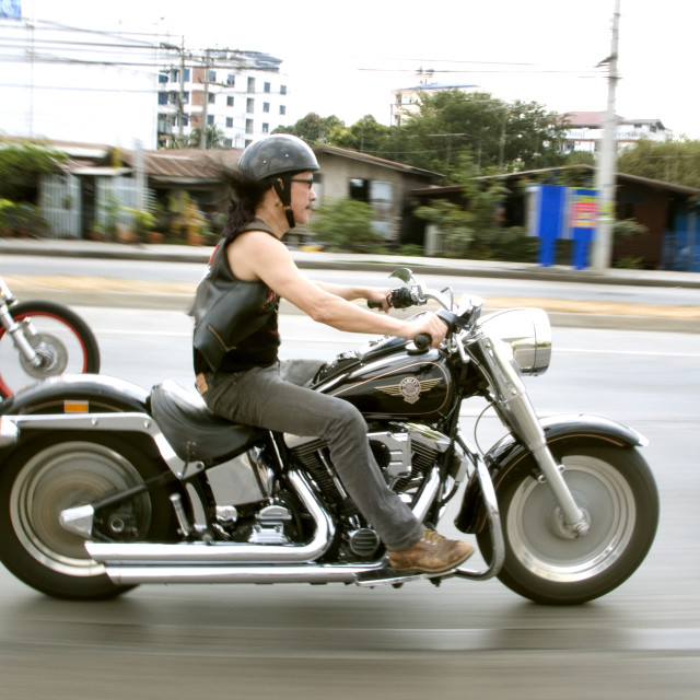 """Ad Carabou on Harley Davidson convoy. Thailand. January 21, 2007."" stock image"