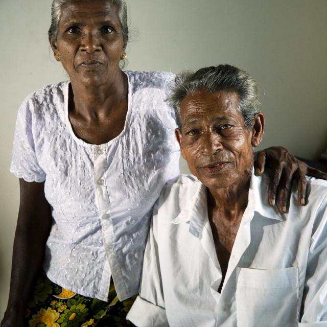 """A Sri Lanka couple, JB Naudasena, 58, and Kaluhannadige Babynona, 55...."" stock image"
