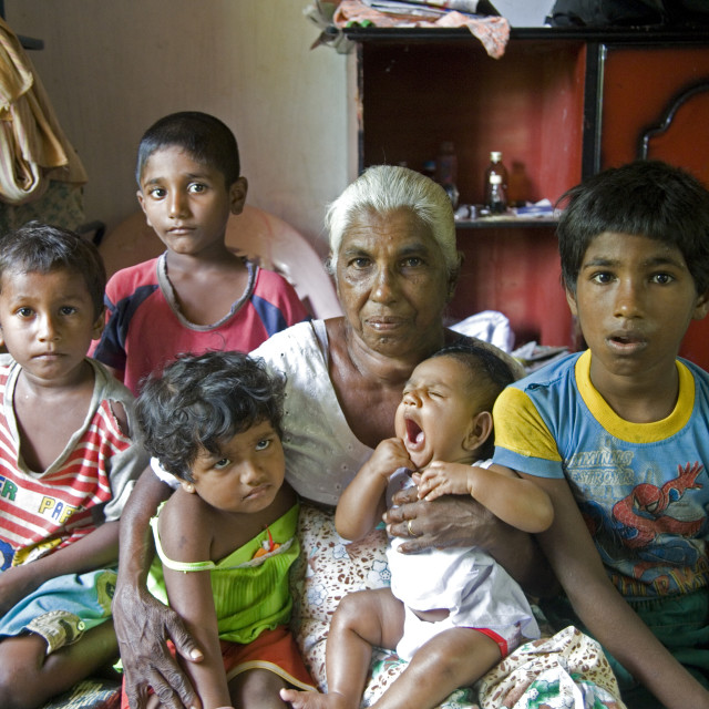 """J D Manikhani, 66, with some of her eight grand children. November 22, 2007...."" stock image"