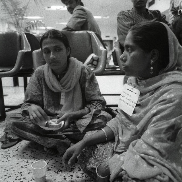 """Bangladeshi women having snacks, inside the Zia International Airport, in..."" stock image"