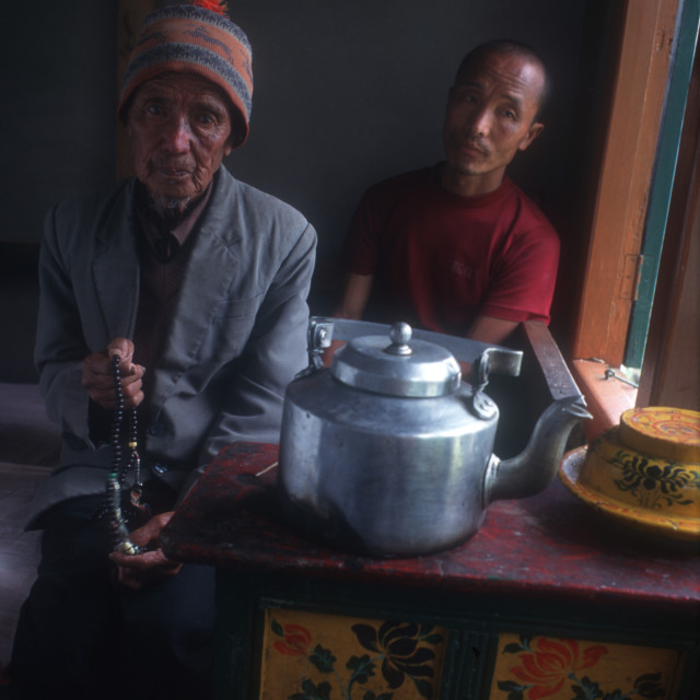 """An elderly man and his son. They are basket makers. Sikkim, India. 2000."" stock image"