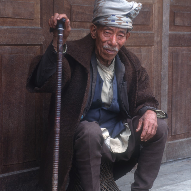 """An elderly man. Sikkim, India. 2000."" stock image"