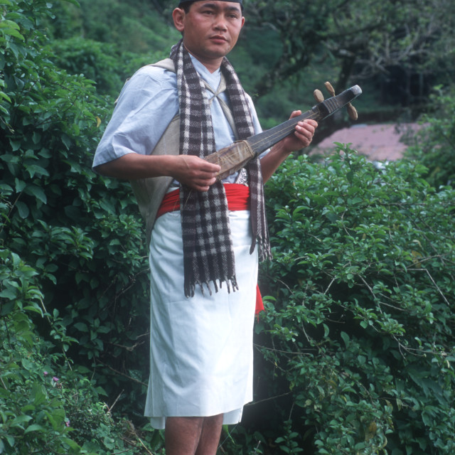 """A Sikkim man in traditional costume. Gangtok, Sikkim, India. 2000."" stock image"