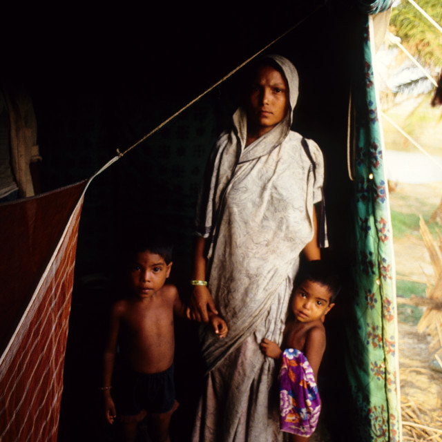 """A mother and her children; survivors of the 1991 cyclone. The 1991 cyclone..."" stock image"
