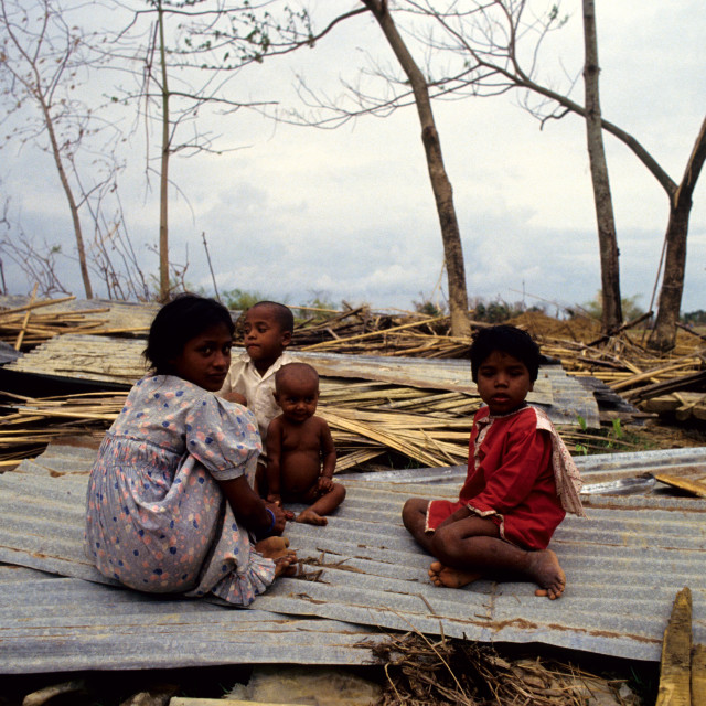 """Children of a devastated village. Anwara, Chittagong, Bangladesh. 1991. The..."" stock image"