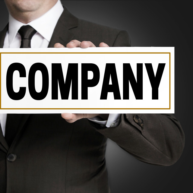 """""""Company sign is held by businessman"""" stock image"""
