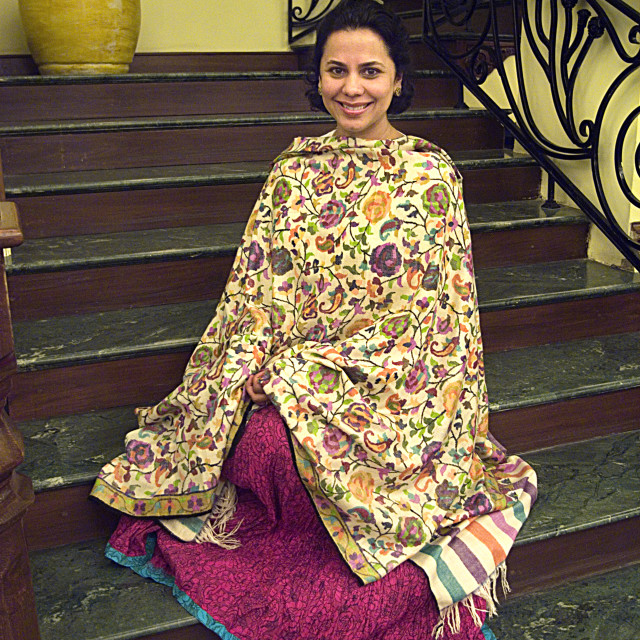 """A woman in traditional Kashmiri shawl. Grand Palace Hotel, Srinagar, Kashmir,..."" stock image"