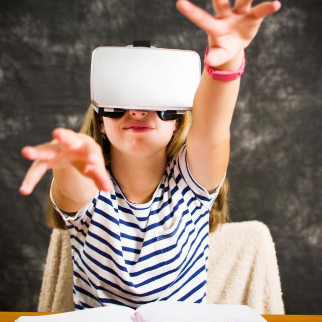 """""""Teenage girl with virtual reality glasses"""" stock image"""