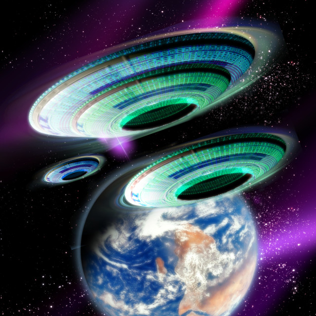 """""""Flying saucers invading Earth, artwork"""" stock image"""