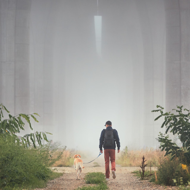 """Man with dog in mysterious fog"" stock image"