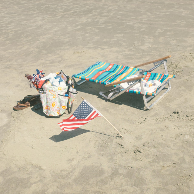 """American Pride at the Beach"" stock image"
