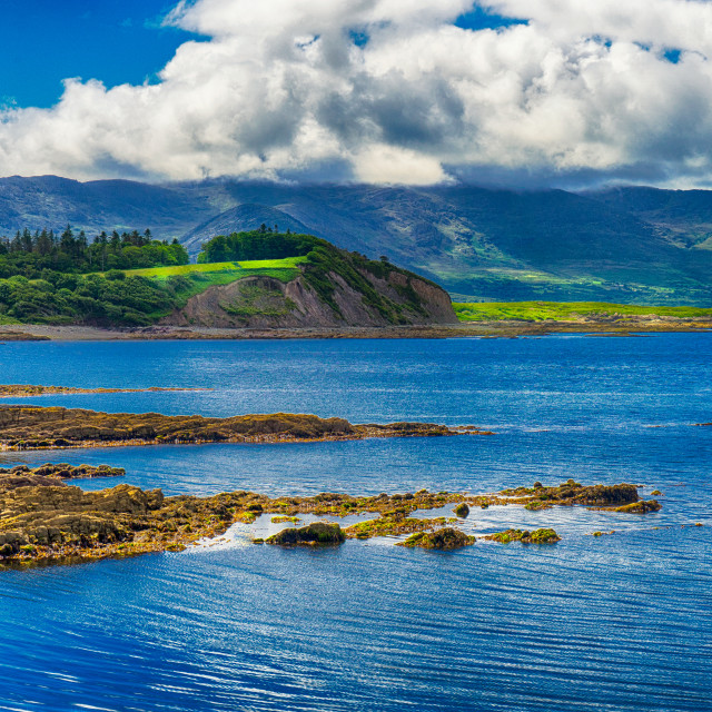 """Bright view of the hills in Sneem, Kerry, Ireland"" stock image"