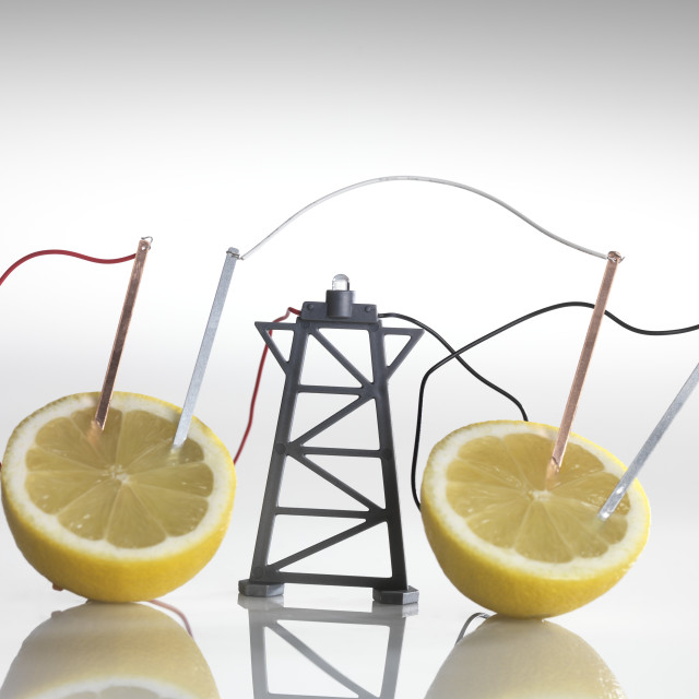 """""""Electrical circuit with lemons"""" stock image"""