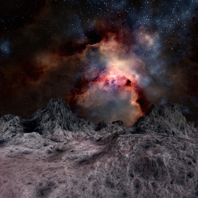 """Nebula seen from an alien planet, artwork"" stock image"