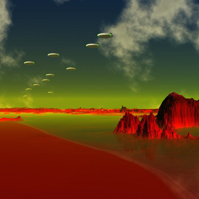 """UFOs over an alien planet, artwork"" stock image"