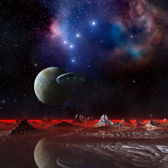 """UFO over an alien planet, artwork"" stock image"