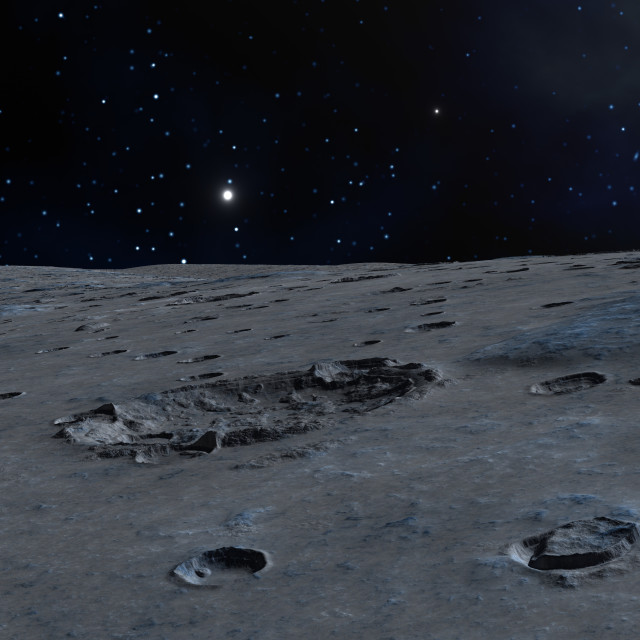 """Impact crater on alien moon, artwork"" stock image"