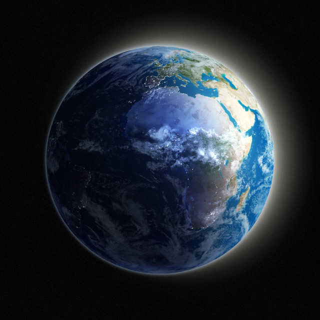 """""""Africa and Europe, night-day artwork"""" stock image"""
