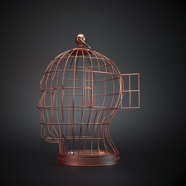 """""""Head-shaped cage, artwork"""" stock image"""