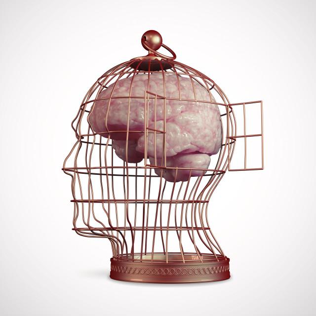 """Caged brain, artwork"" stock image"