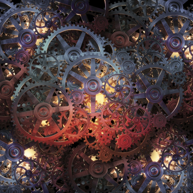 """""""Cogs and gears, artwork"""" stock image"""