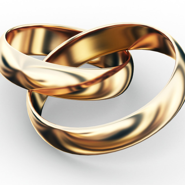 """Entwined wedding rings, artwork"" stock image"
