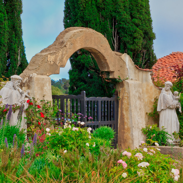 """Carmel Mission Entrance"" stock image"