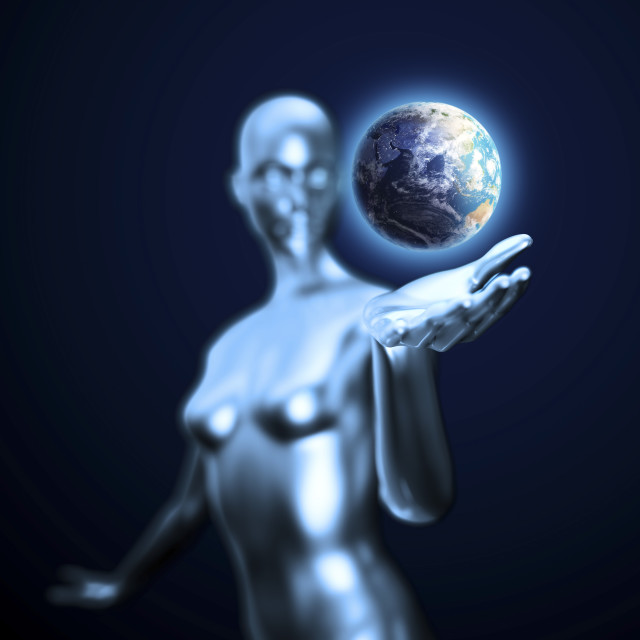 """Android holding Earth, artwork"" stock image"