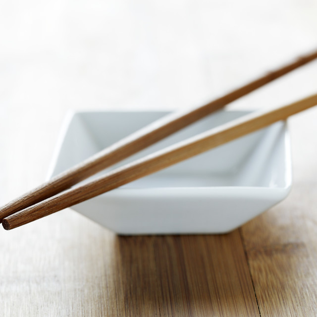 """Chopsticks and bowl"" stock image"