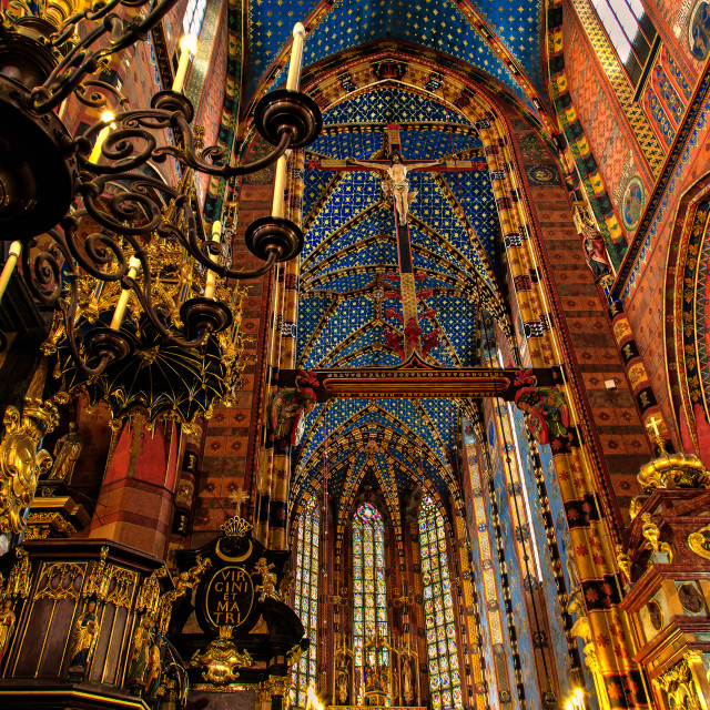 """Kościół Mariacki (St. Mary's Basilica, Krakow)"" stock image"