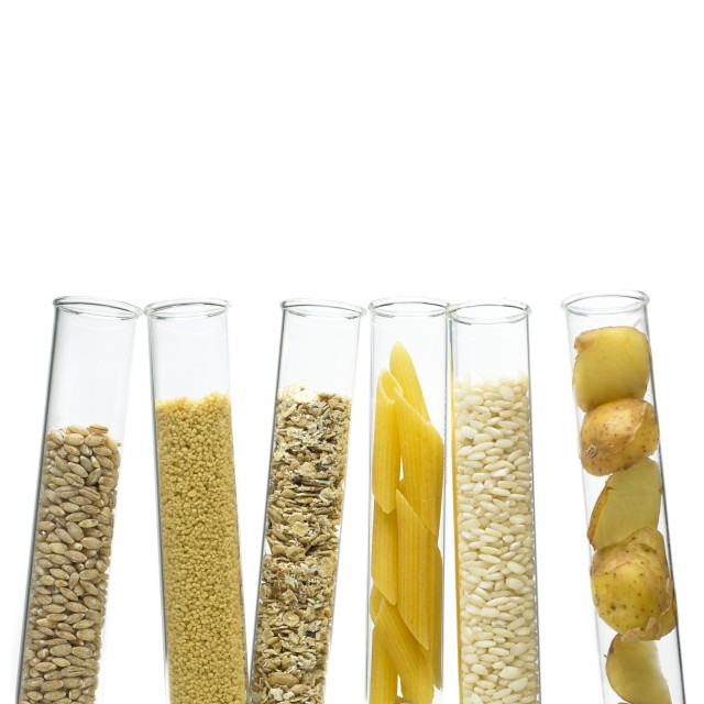"""Grains and carbohydrates in test tubes"" stock image"
