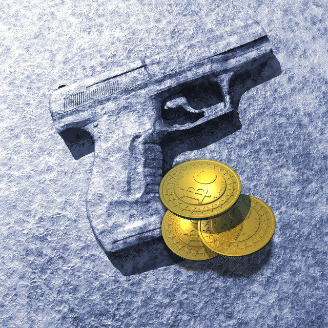 """Bitcoins and gun, artwork"" stock image"