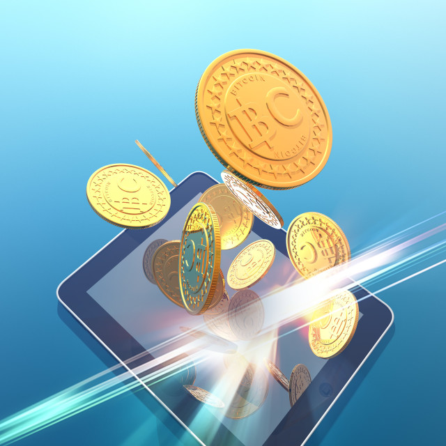 """Bitcoins and digital tablet, artwork"" stock image"