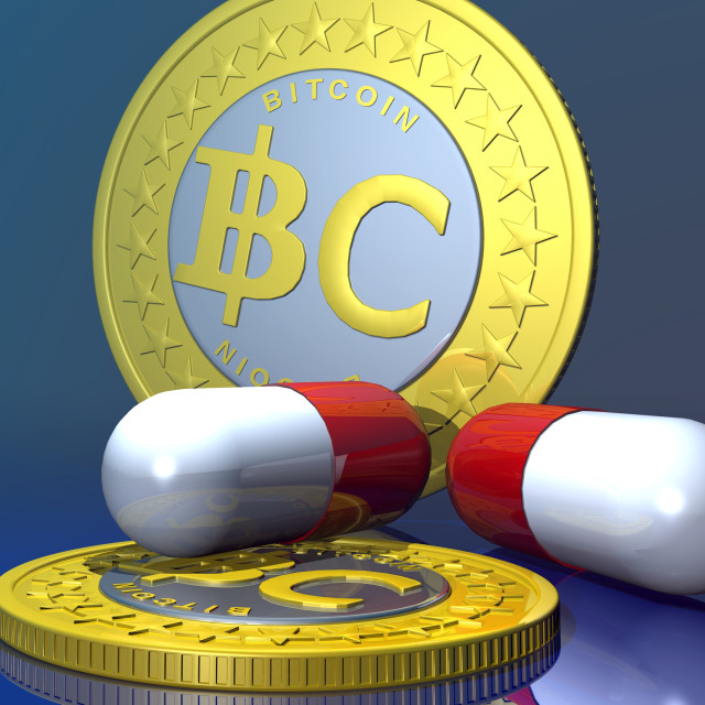 """Bitcoins and medicine, artwork"" stock image"