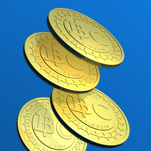 """Bitcoins, artwork"" stock image"