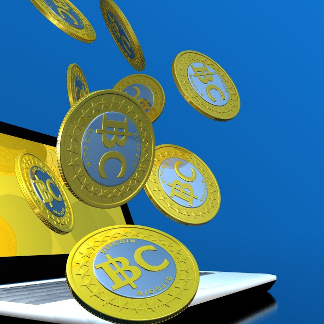 """Bitcoins and laptop, artwork"" stock image"