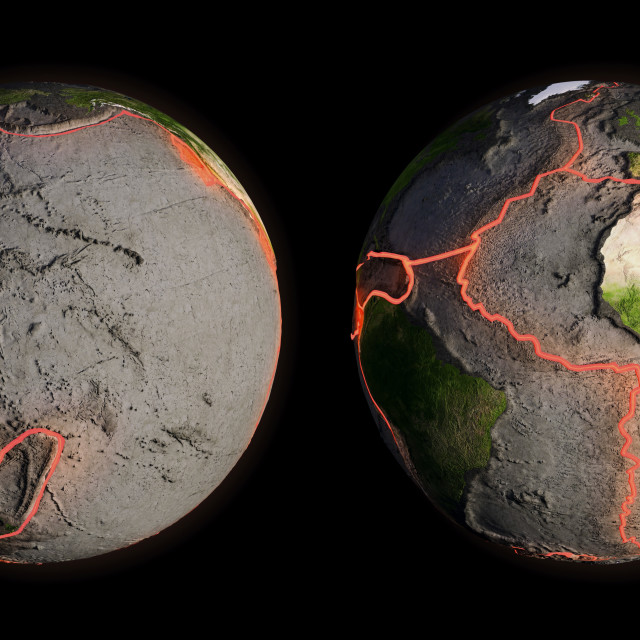 """""""Tectonic plates and fault lines, artwork"""" stock image"""