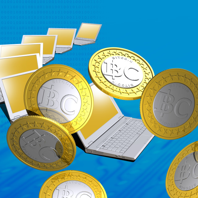 """Bitcoins and laptops, artwork"" stock image"