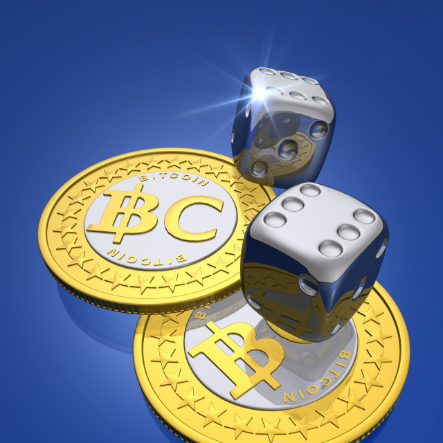 """Bitcoins and dice, artwork"" stock image"