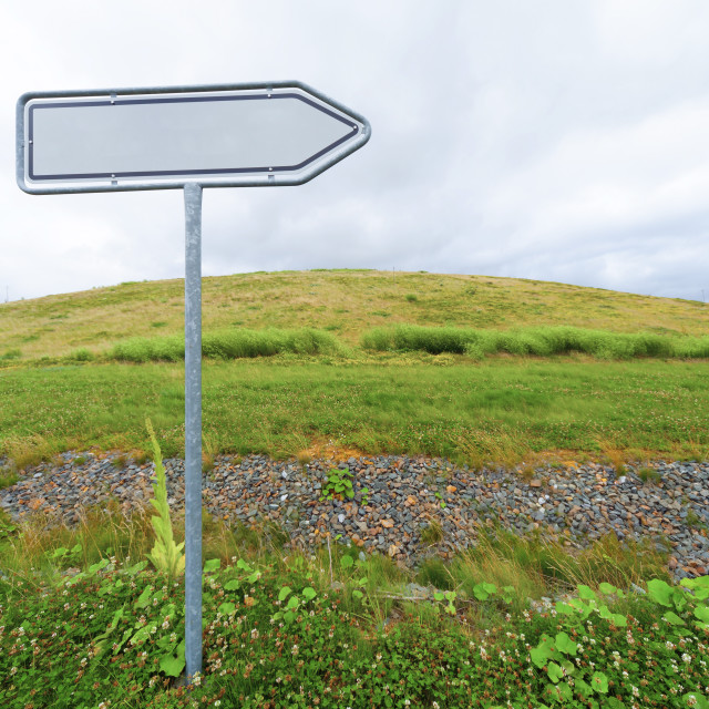 """""""Blank directional sign in a field"""" stock image"""