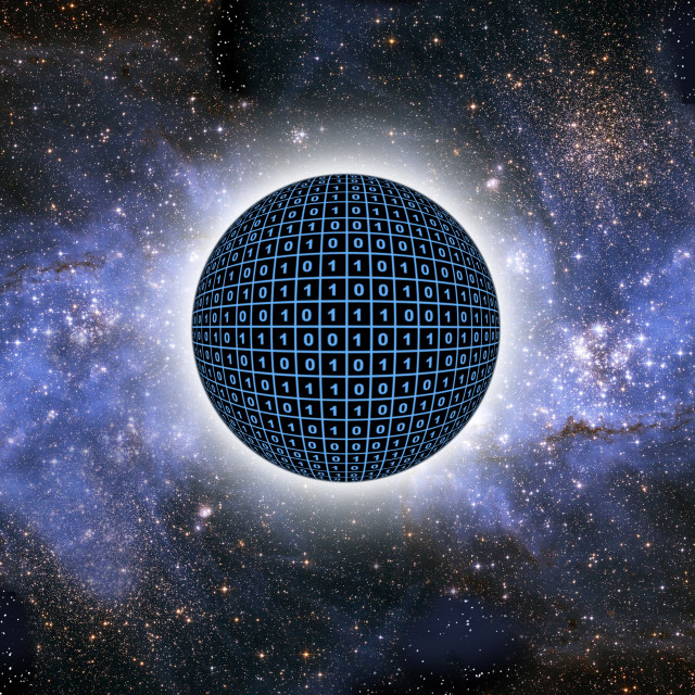 """""""Sphere in space with binary code"""" stock image"""