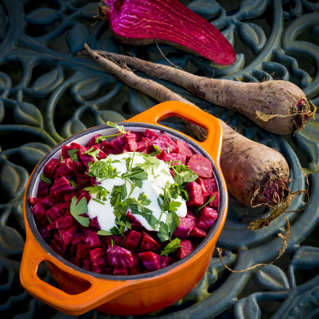 """""""Beetroot with a garnish"""" stock image"""