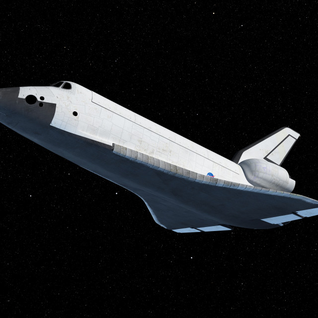 """Space shuttle in space, illustration"" stock image"