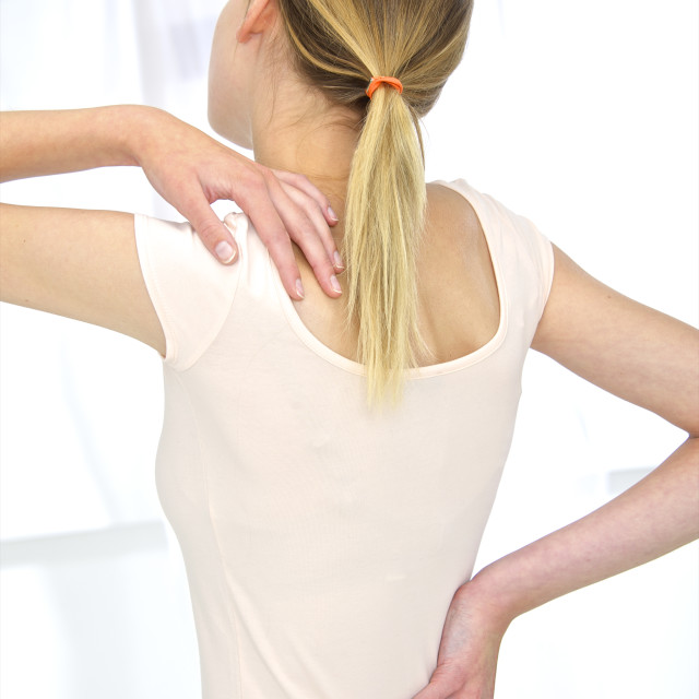 """""""Woman with back ache"""" stock image"""