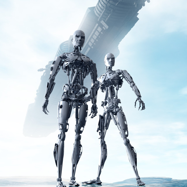 """Androids and spacecraft, illustration"" stock image"